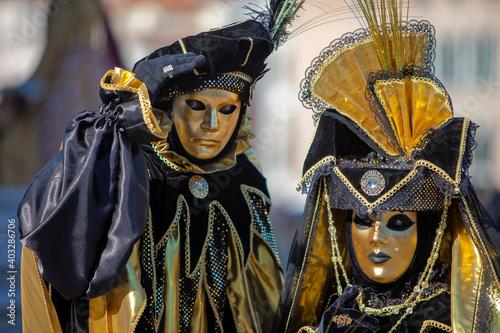 Leinwand Poster Karneval in Venedig Gold und Schwarz