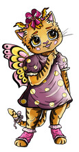 Cartoon Character, Cute Little Girl Tiger With Butterfly Wings, With Big Eyes And Long Eyelashes, With Two Ponytails And Bow-knot On A Head, In Dress In Polka-dot And Socks. Isolated, In Full Growth.