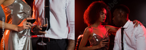 Obraz collage of curly african american woman and man holding glasses of red wine on black - fototapety do salonu