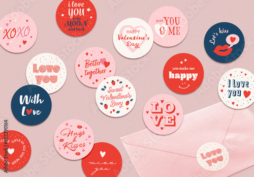 Obraz Valentine's Day Label Layout Set - fototapety do salonu