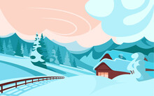 Cabin Or Chalet In The Mountains On A Winter Evening, Vector Landscape