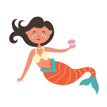 Cute Mermaid Holding A Shell With A Pearl In Her Hands. Fairy Sea Creature Girl With A Tail. Vector Flat Character