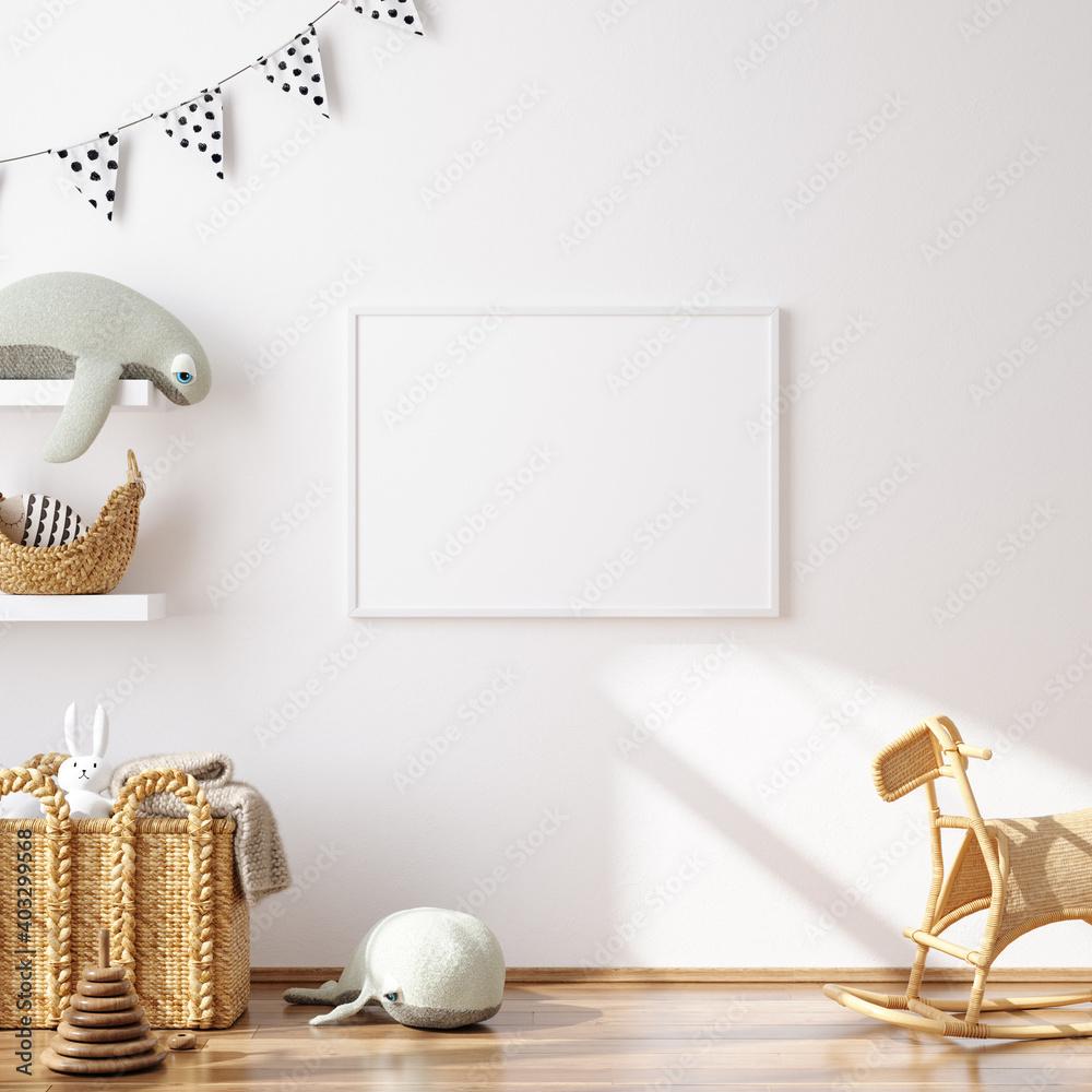 Fototapeta Mock up frame in children room with natural wooden furniture, 3D render