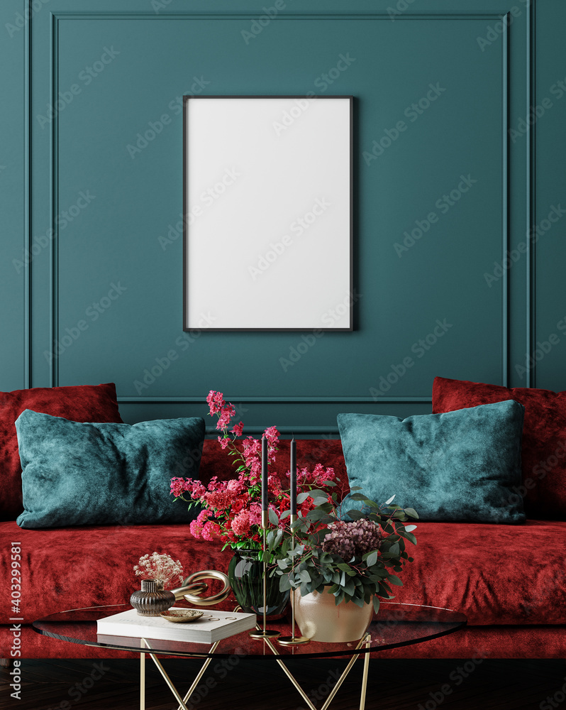 Fototapeta Mockup frame in dark green home interior with red sofa, table and decor, 3d render