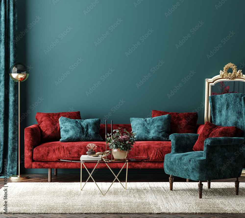 Fototapeta Home interior mock-up with red sofa, table and decor in green living room, 3d render