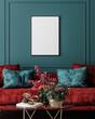 Leinwandbild Motiv Mockup frame in dark green home interior with red sofa, table and decor, 3d render