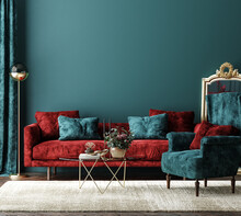 Home Interior Mock-up With Red Sofa, Table And Decor In Green Living Room, 3d Render