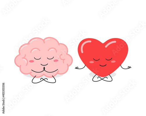 Obraz Funny cartoon brain and heart characters meditating - fototapety do salonu
