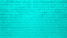 Turquoise Brick Wall Background Or Texture.