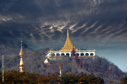 Obraz na plátně Golden pagodas and temples on sagaing hill, a 240 metres (790 ft) hill with many