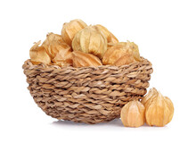 Cape Gooseberry In Basket Isolated On White Background