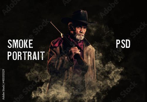 Fototapeta Cinematic Smoke Portrait Effect Mockup obraz