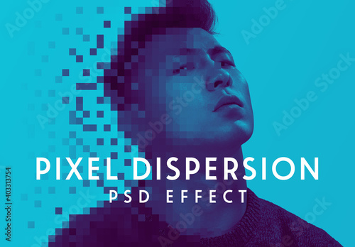Fototapeta Pixel Dispersion Effect Mockup obraz