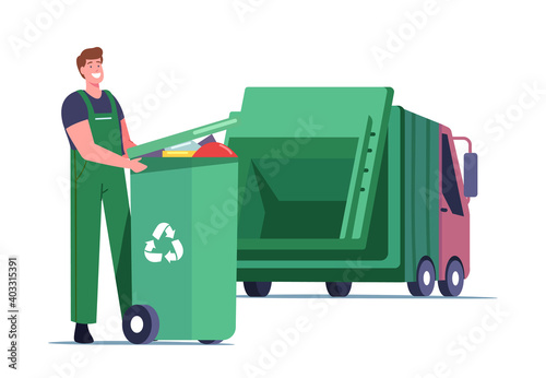 Obraz Janitor Loading Recycling Container with Litter for Separation. Garbage Man Loading Wastes to Truck for Reduce Pollution - fototapety do salonu