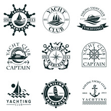 Collection Of Yacht Club Labels With Sea Waves, Anchor And Helm Isolated On White Background