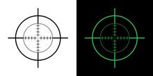 Gun Sight Crosshairs Bullseye Isolated Vector Illustration In Black And Green