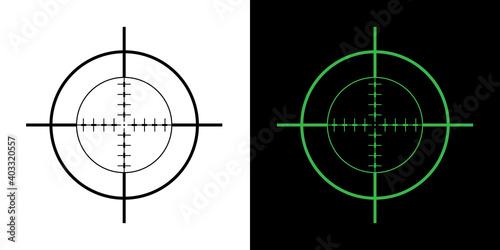 Gun Sight Crosshairs Bullseye Isolated Vector Illustration in Black and Green Fototapeta
