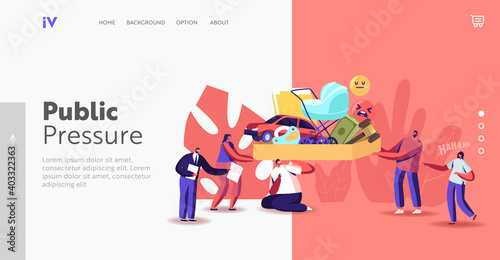 Obraz Public Pressure Landing Page Template. Tiny Characters Put Huge Box Full of Society Attributes on Man Shoulders - fototapety do salonu