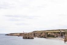 Coastal View Of Marsden Rock In South Shields