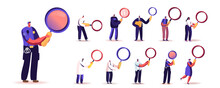 Set Of People With Magnifying Glass. Tiny Male And Female Characters Holding Huge Magnifier For Information Research