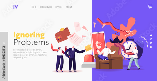 Obraz Problem Ignoring Landing Page Template. Frivolous Character Avoid Difficulties Prefer Ignoring Urgent Issues at Work - fototapety do salonu