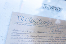 Pan Shot Of United States Constitution On Display By Local Courthouse