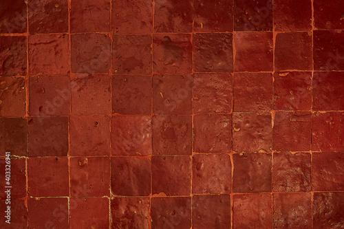 Riad, Morocco, red mosaic terracotta Fototapete