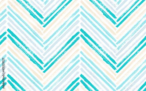 Valokuva Brush stroke chevron zig zag seamless pattern.