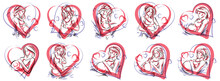 Pregnant Woman Vector Hand Drawn Illustrations Set Isolated On White Background, Prenatal Pregnancy Baby Shower Theme, Beautiful Female Motherhood New Life.