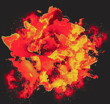 Comic Book Explosion Of Red Burning Over Dark Background, Abstract Flame Fractal Design In Polka Dots Pop Art Design