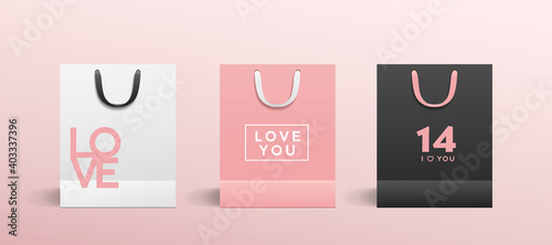 White paper bag, Pink paper bag, Black paper bag, with colorful cloth handle collections valentine's concept design, template background, Eps 10 vector illustration