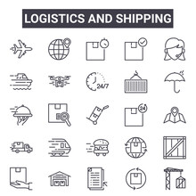 Logistics And Shipping Outline Icon Set. Includes Thin Line Icons Such As Airplane, Ship, Hours Delivery, World Wide, Product Return, Punctual, Crane, Hours Delivery. Can Be Used For Report,