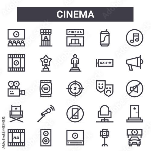 Valokuva cinema outline icon set