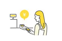 クレジットカードでキャッシュレス決済をする女性のイラスト素材