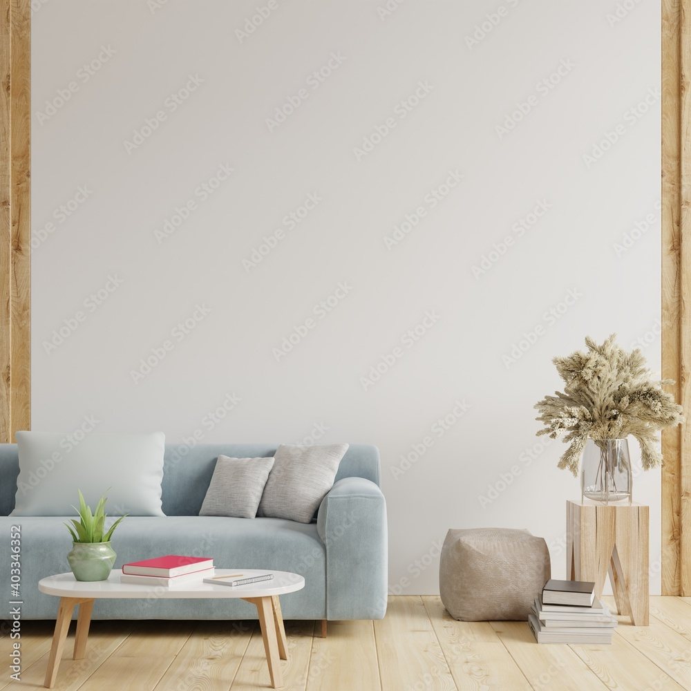Fototapeta White wall living room have sofa and decoration.