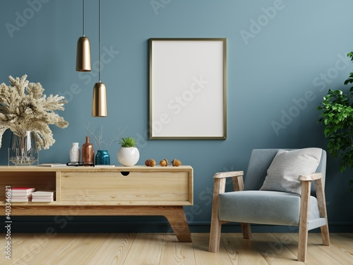 Carta da parati Poster mockup with vertical frames on empty dark green wall in living room interior with blue velvet armchair
