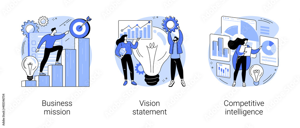 Fototapeta Strategic business planning abstract concept vector illustration set. Business mission, vision statement, competitive intelligence, goals and philosophy, brand success, loyalty abstract metaphor.