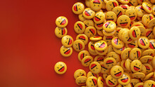 3d Rendering Of A Bunch Of Yellow Laughing Emojis Glossy Pills Over Red Background