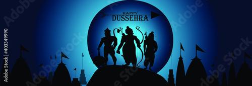 Fototapeta Lord Rama killing Ravan design for Dussehra festival of India, vector illustration