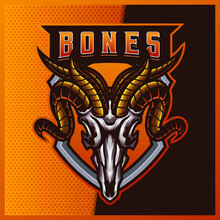 Goat Skull Esport And Sport Mascot Logo Design With Modern Illustration Concept For Team, Badge, Emblem And T-shirt Printing. Goat Skull Illustration On Isolated Background. Premium Vector