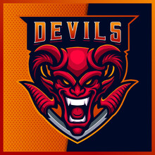 Smile Red Devil Esport And Sport Mascot Logo Design With Modern Illustration Concept For Team, Badge, Emblem And T-shirt Printing. Fire Devil Illustration On Isolated Background. Premium Vector
