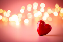 The Red Heart Shapes On Abstract Light Pink Glitter Background. Love Concept For Valentines Day.