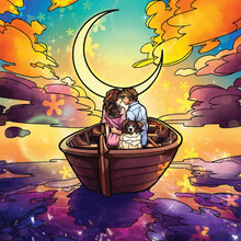 Girl And Boy On The Boat And Moon Behind Illustration