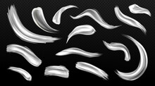 Silver Brush Strokes, Metal Paint Smears, Grey Or White Colored Metallic Texture Stains. Hand Drawing Shiny Smudges, Luxury Design Elements Isolated On Transparent Background, Realistic 3d Vector Set