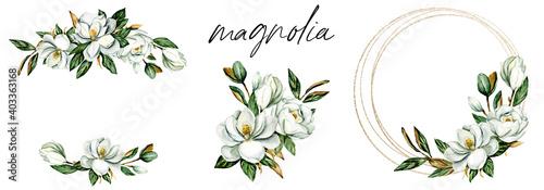Valokuva Set watercolor flowers magnolia hand drawn, floral vintage illustrations