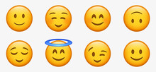Smiling Face With Smiling Eyes, 3d Happy Smiley Emoji With Halo,  Cute Emoticon With Cheeks, Relieved Face, Pleased, Content, Slightly Smile Character