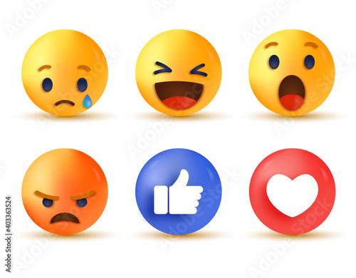 Canvas Print 3d social media reaction, collection of emoji reactions, sad cry emoji, funny ha