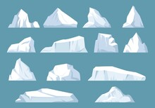 Varieties Icebergs Set. Geometric Floating Shape Of Ice In Arctic Ocean Massive White Surface With Underwater Hazard Polar Rock Antarctic Breaking Away From Coast And Traveling By Sea. Vector Freeze.