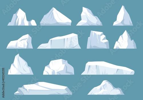Varieties icebergs set Fotobehang