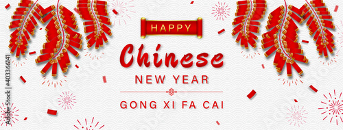 Obraz Happy Chinese new year GONG XI FA CAI text on oriental wave pattern  banner background with firecrackers - fototapety do salonu